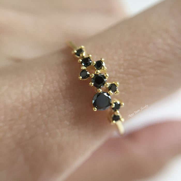14K Night Queen Dainty Ring - Tippy Taste Jewelry