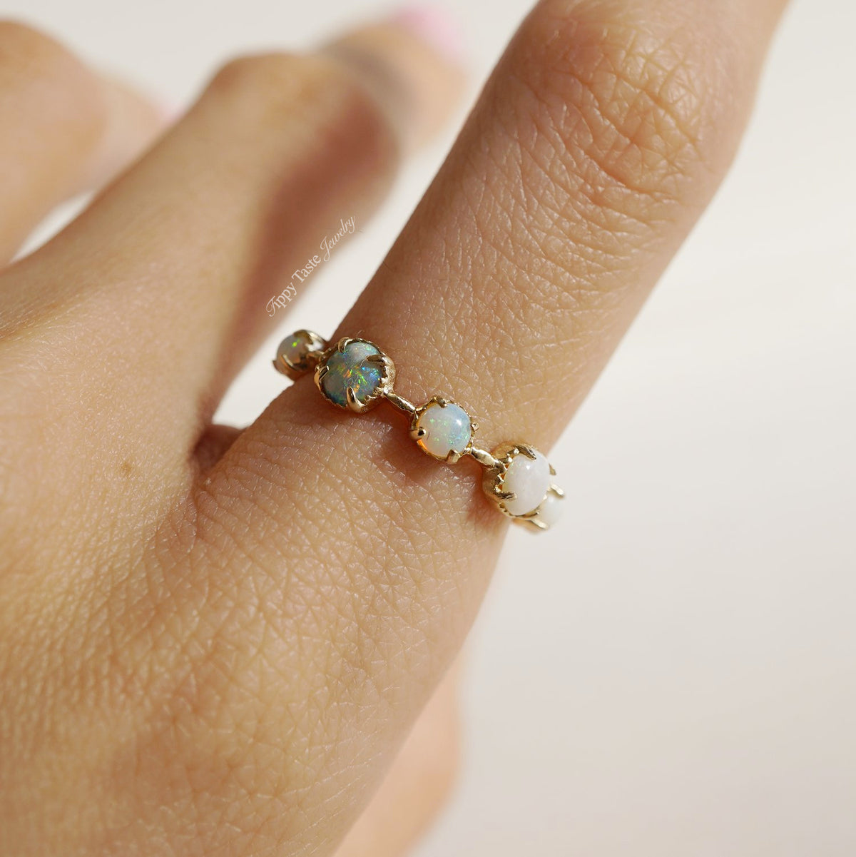 14K Oceanic Opal Ring - Tippy Taste Jewelry