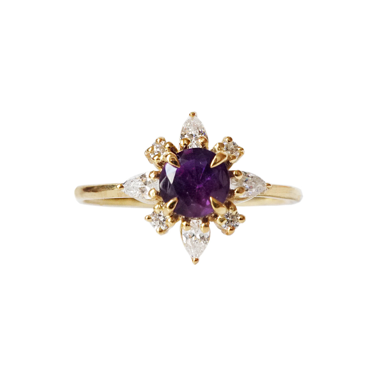 Amethyst Passion Flower Ring
