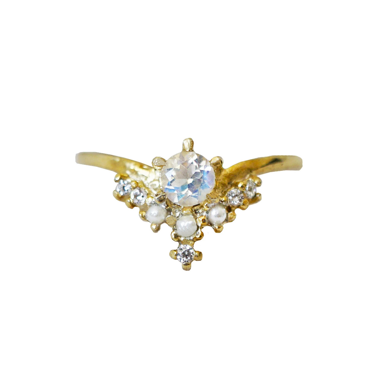 Angelic Moonstone Pearl Ring