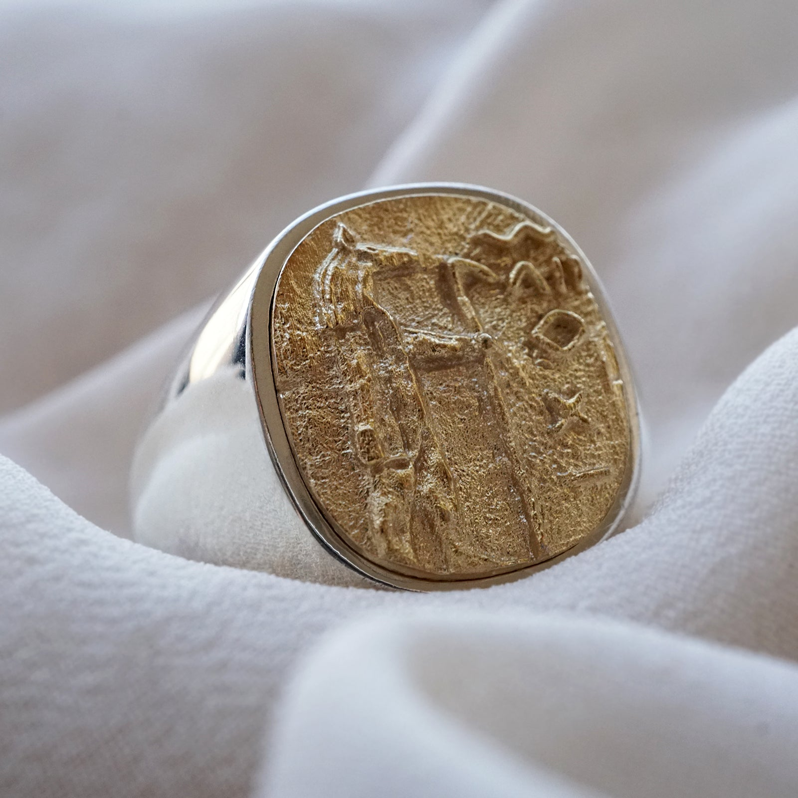 Mixed Metal Anubis Signet Ring