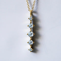 14K Aquamarine Waterfall Necklace - Tippy Taste Jewelry
