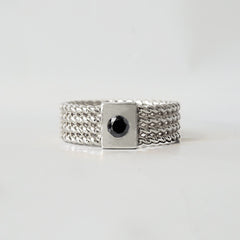 Silver Braid Black Diamond Ring Band