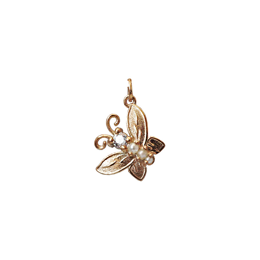 14K Diamond Butterfly Pearl Charm