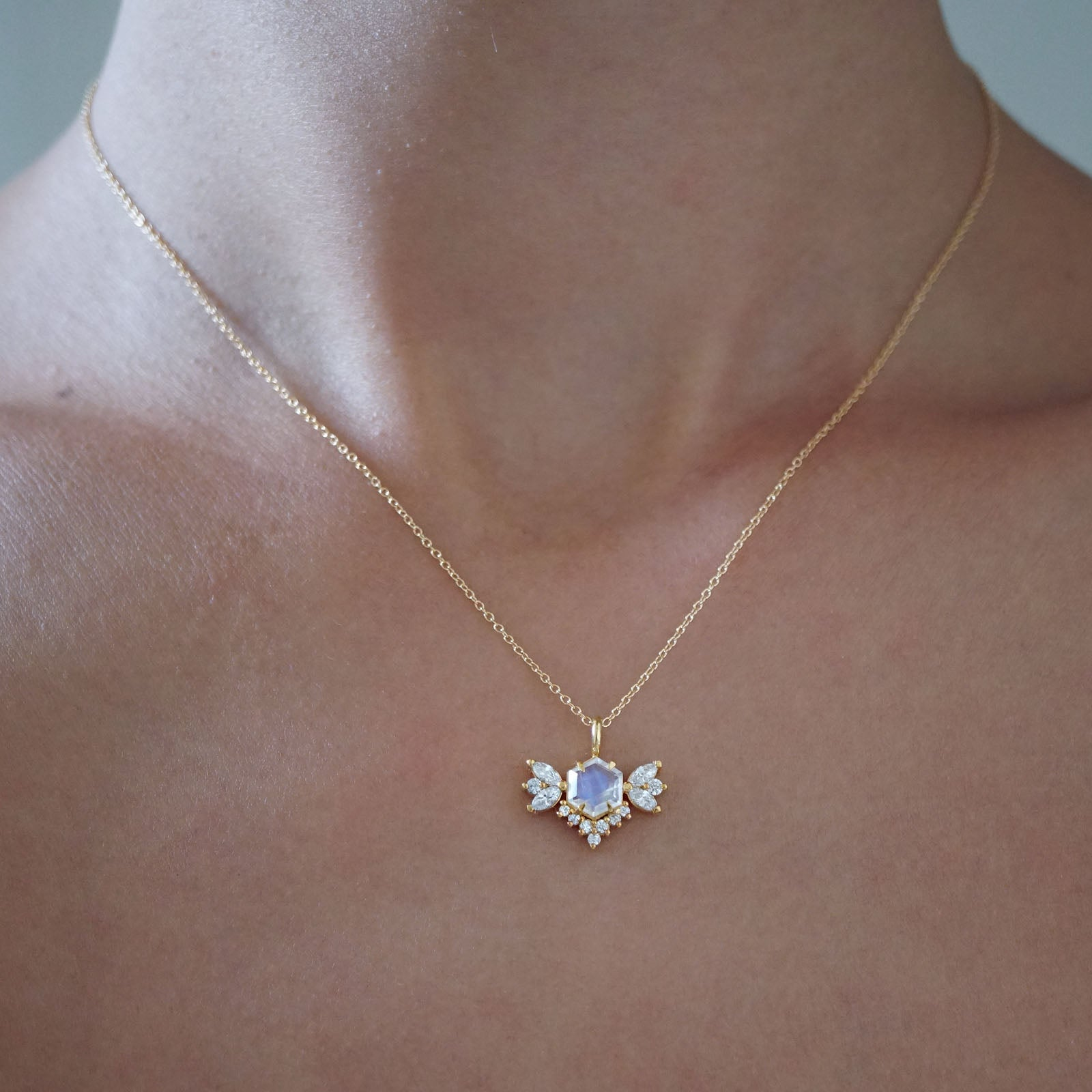 Hexagon Moonstone Butterfly Diamond Necklace