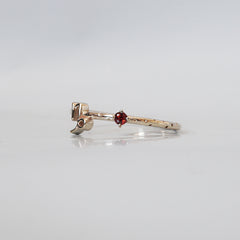 14K Capricorn Horoscope Birthstone Ring (Garnet + Blue Topaz)