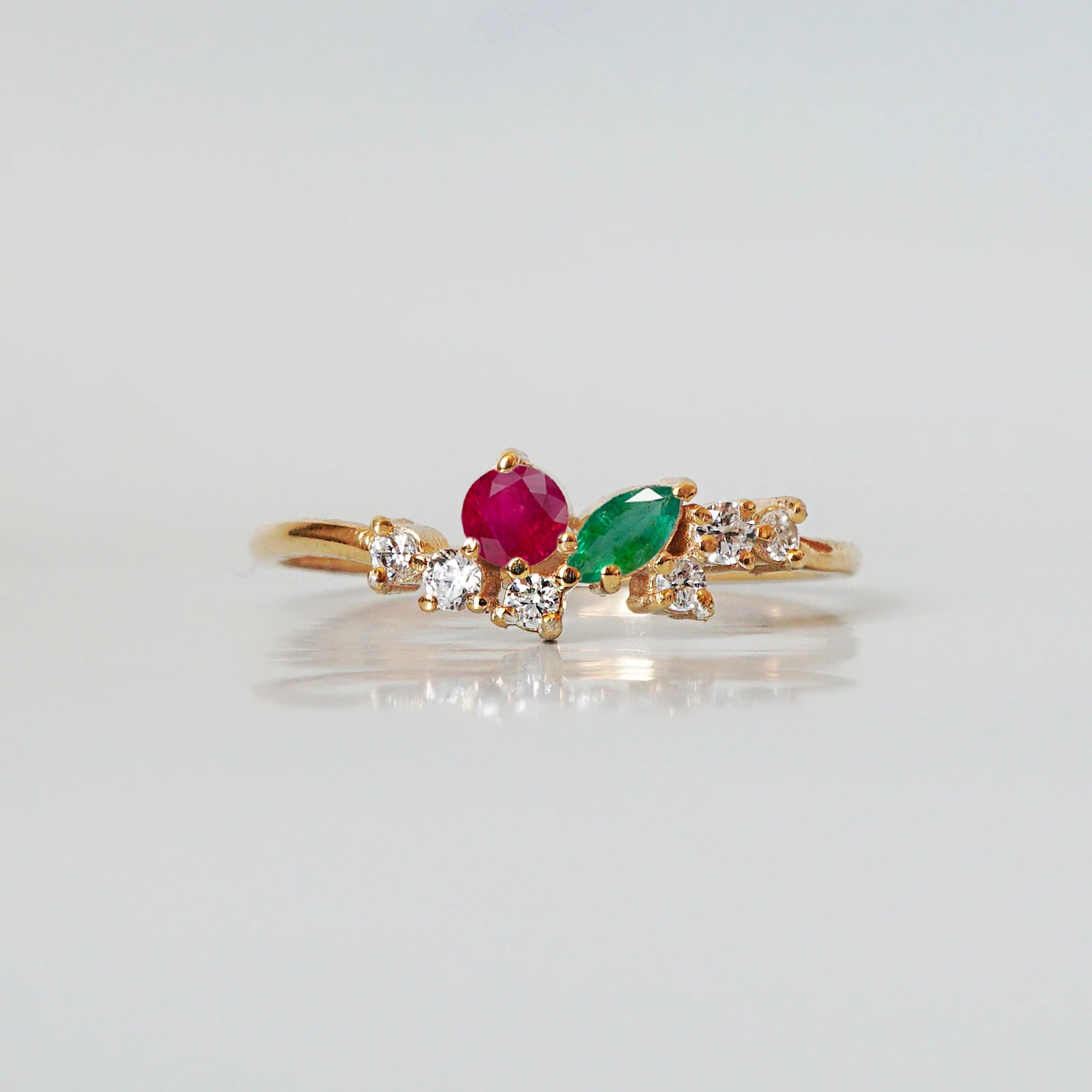 14K Cherry Pixie Ruby Emerald Ring