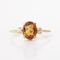 Oval Citrine Sunrise Ring