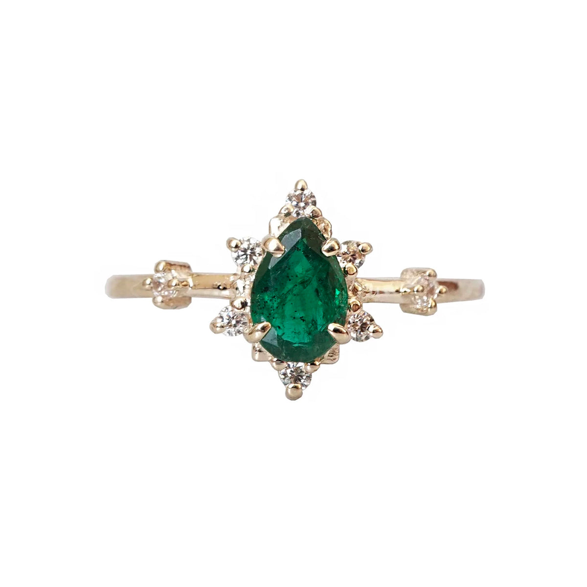 14K Emerald Diamond Crush Ring