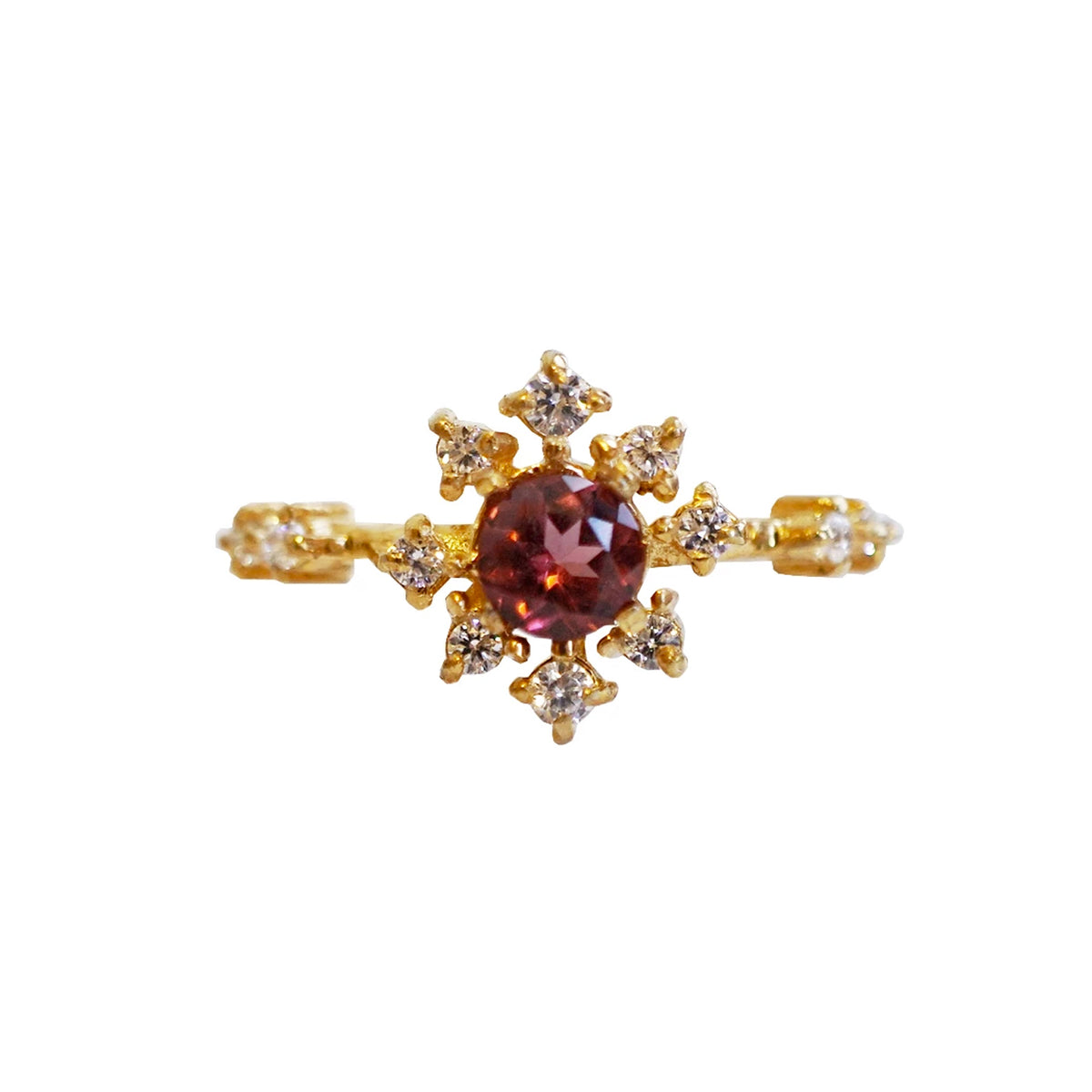 Garnet Rose Thorn Ring