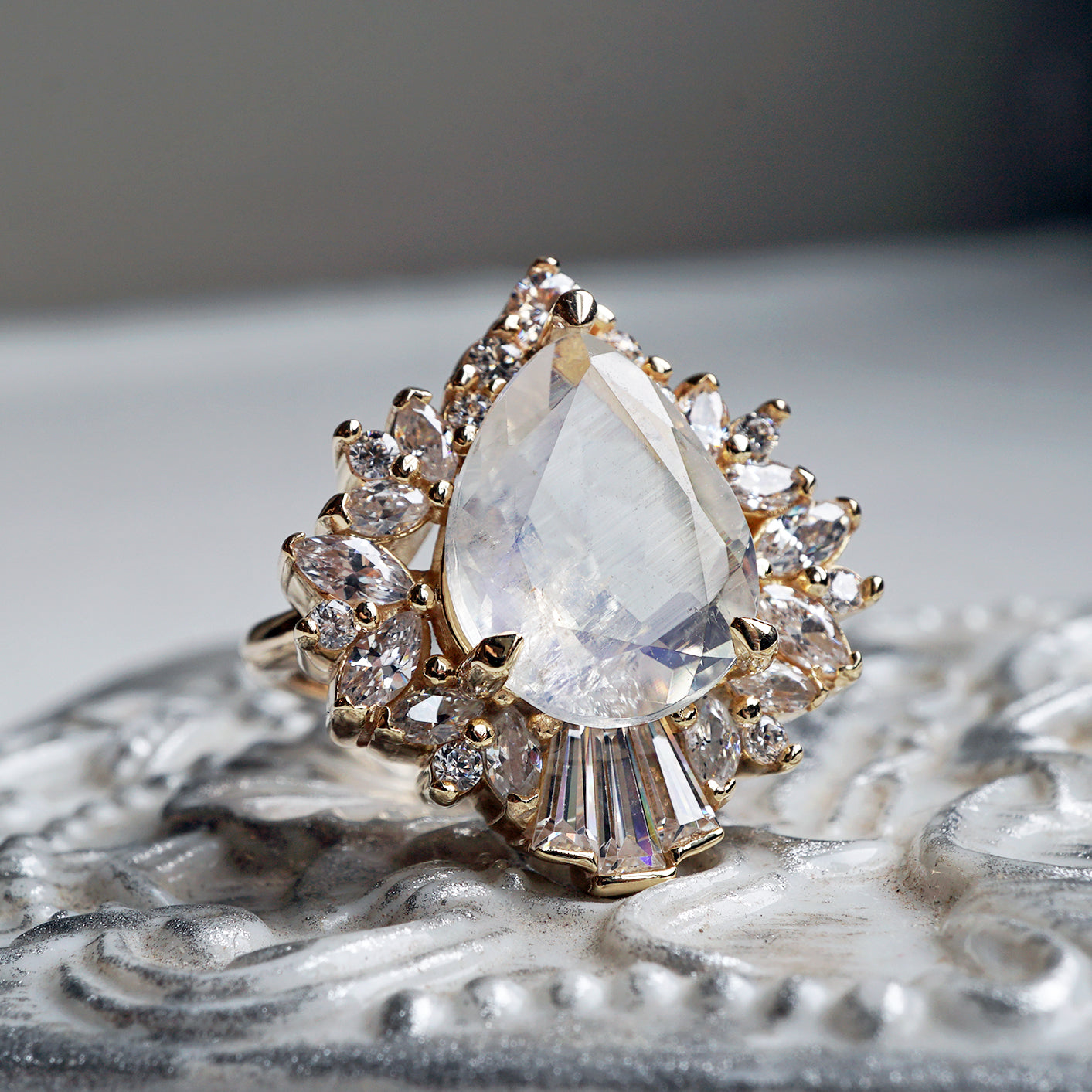 Hall Of Mirrors Moonstone Diamond Ring