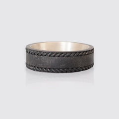 Metallic Grey Silver Twisted Ring, 7mm