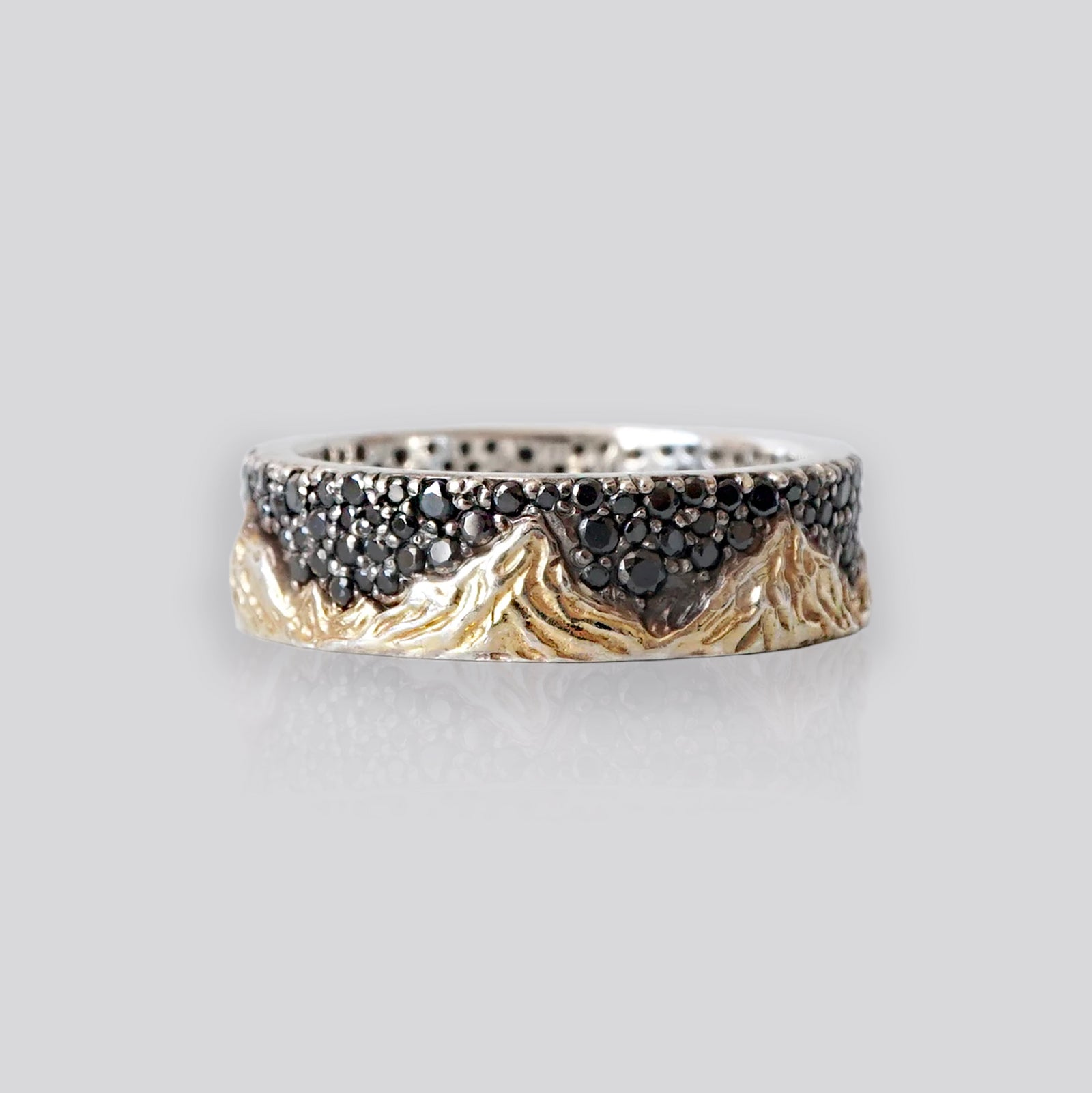 Mixed Metal Montona Black Diamond Ring, 7.2mm