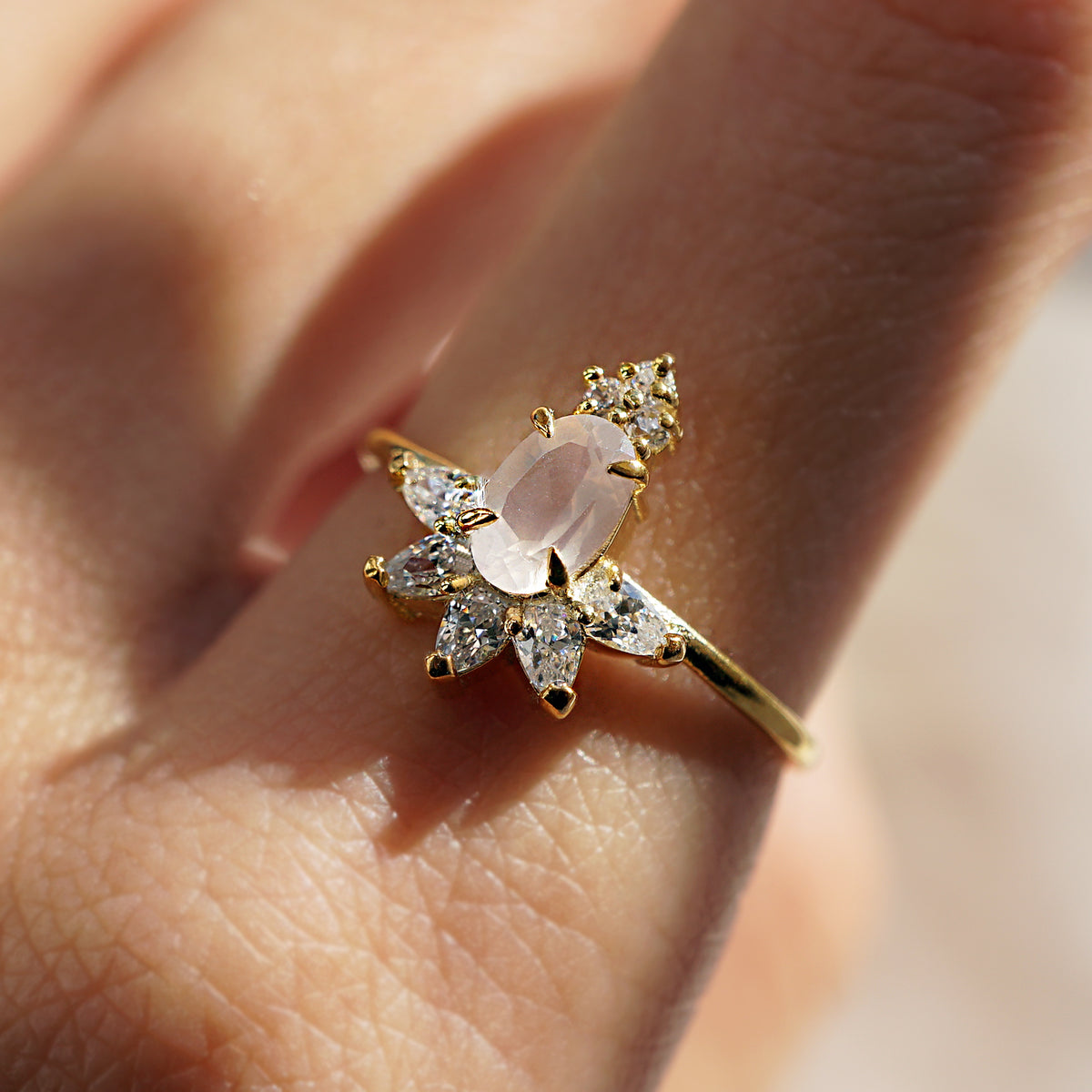 Rose Quartz Berry Ring