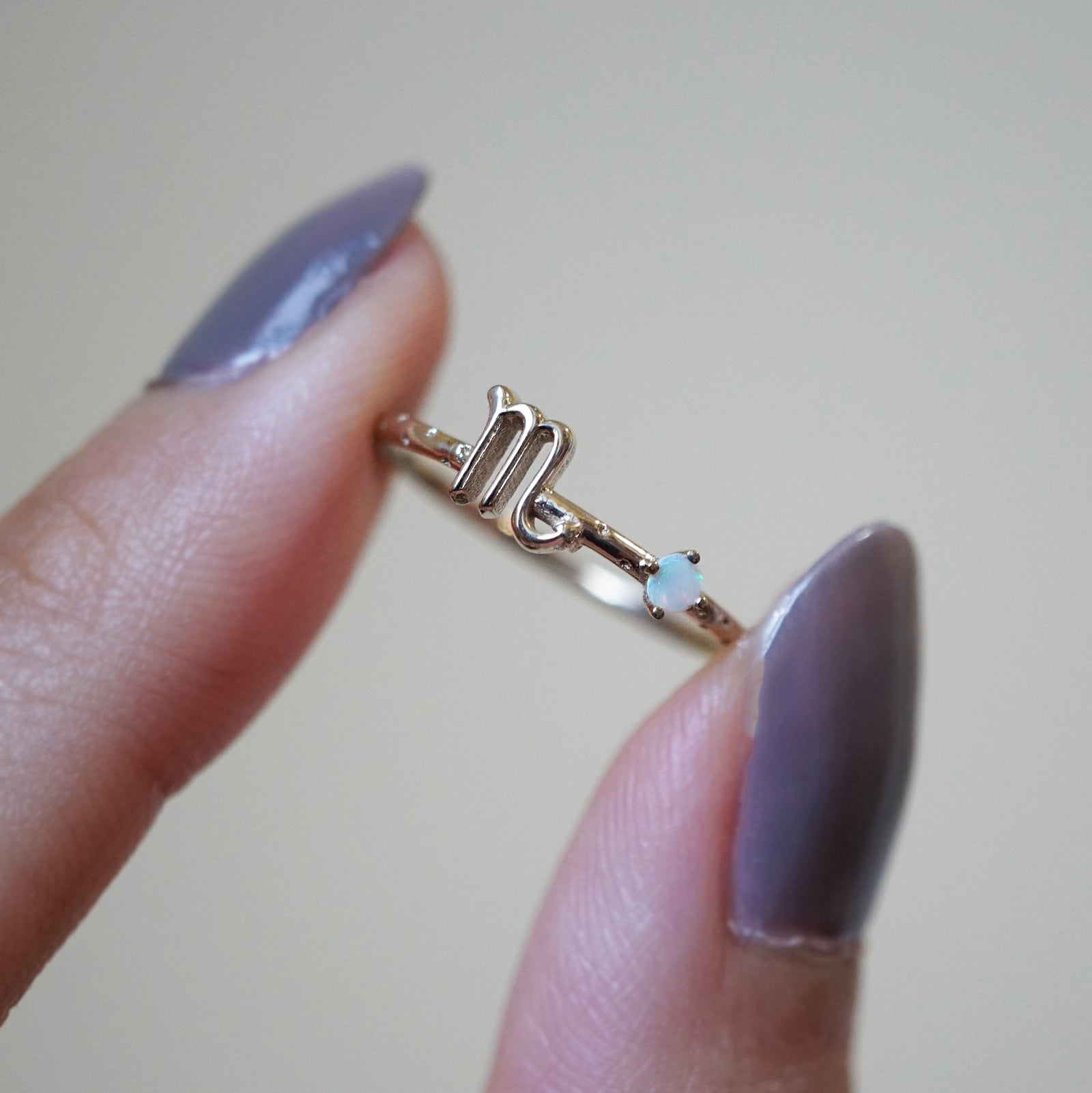 14K Scorpio Horoscope Birthstone Ring (Opal + Citrine)