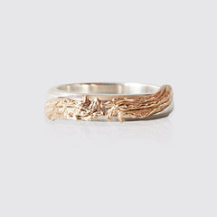 14K Mixed Metal Tree Branch Ring, 5mm