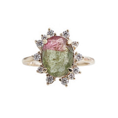 14K Watermelon Tourmaline Diamond Ring