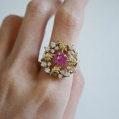 14K Wishing Well Ruby Diamond Ring
