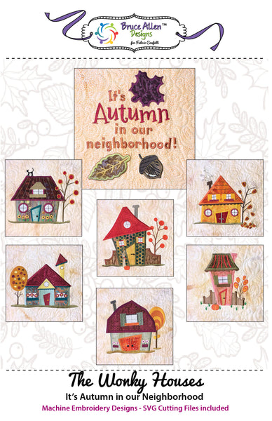 The Wonky Houses Table Runner - Autumn - for Machine Embroidery