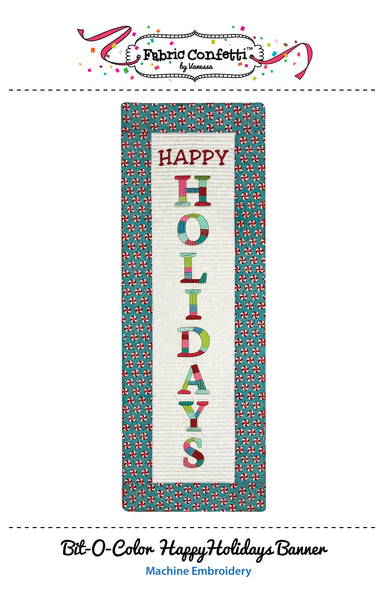 Bit-O-Color Happy Holidays Quilted Banner