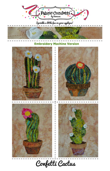 Confetti Cactus for Machine Embroidery