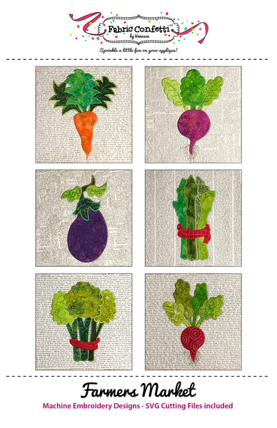 Farmers Market Table Runner for Machine Embroidery