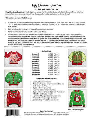 Ugly Christmas Sweaters for Machine Embroidery