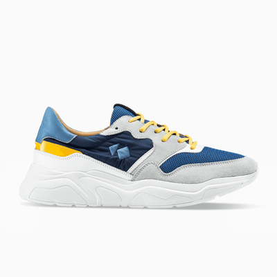 Blue Yellow White Sneaker Chunky Sole Mens Koio