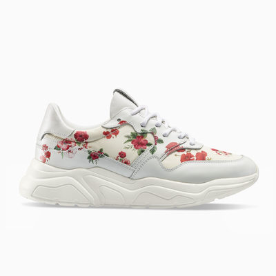 White Red Flower Sneaker Chunky Sole Womens Koio