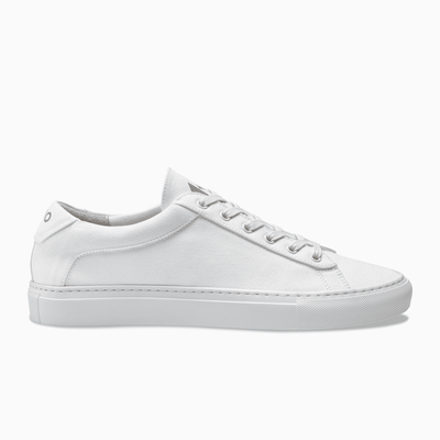 White canvas Low Top Sneaker white sole  Mens Koio