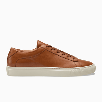 Brown Leather Low Top Sneaker White sole Mens Koio