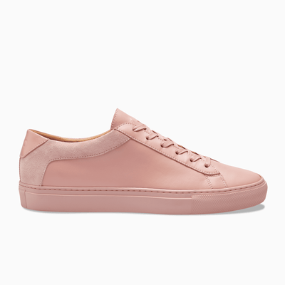 Men's Low Top Leather Sneaker in Pink | Capri Fiore | KOIO
