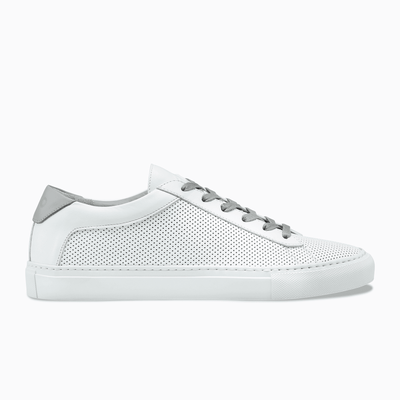 White Perforated Leather Low Top Sneaker Women`s Koio