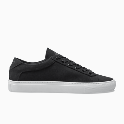 Black Canvas Low Top Sneaker white sole  Mens Koio