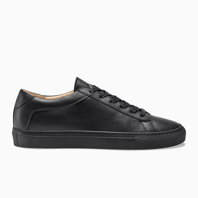 Men's Low Top Leather Sneaker in Black | Capri Nero | KOIO