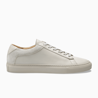Men's Low Top Leather Sneaker in Beige | Capri Nuvola | KOIO