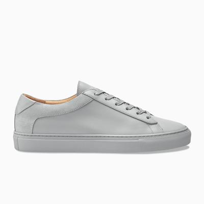 Men's Low Top Leather Sneaker in Grey | Capri Perla | KOIO