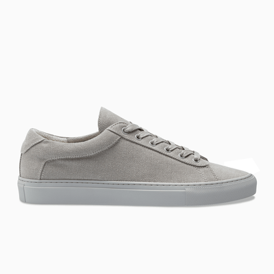 Grey Low Top Canvas Sneaker white sole  Mens Koio