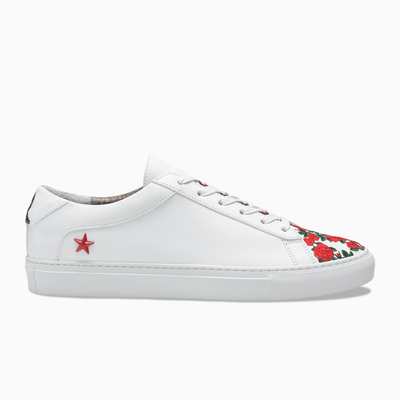 White red flowers Leather Low Top Sneaker Mens Koio