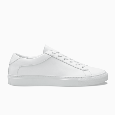 Men's Low Top Leather Sneaker in White | Capri Triple White | KOIO