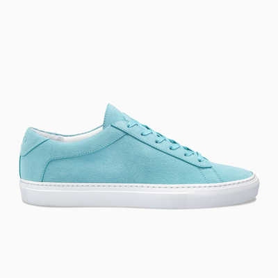 Light blue suede Low Top Sneaker white sole  Mens Koio basic