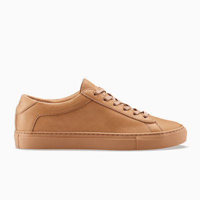 Men's Low Top Leather Sneaker in Brown | Capri Sahara | KOIO