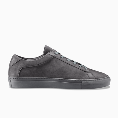 Men's Low Top Nubuck Sneaker in Dark Grey | Capri Charcoal | KOIO