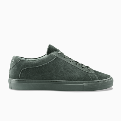Women's Low Top Suede Sneaker in Green | Capri Hunter | KOIO
