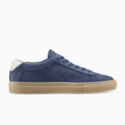 Men's Low Top Nubuck Leather Sneaker in Navy Blue | Capri Atlantic | KOIO