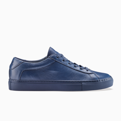 Men's Low Top Leather Sneaker in Navy Blue | Capri Midnight | KOIO