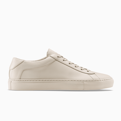 Women's Low Top Leather Sneaker in Beige | Capri Poudre | KOIO