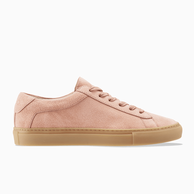 Women's Low Top Suede Sneaker in Pink | Capri Rose Cloud | KOIO