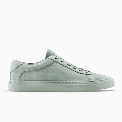 Women's Low Top Suede Sneaker in Green | Capri Sage | KOIO
