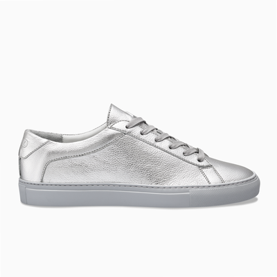Silver Leather Low Top Sneaker Women`s Koio